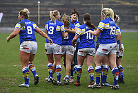Picture by Anna Gowthorpe/SWpix.com - 15/04/2018 - Rugby League - Womens Super League - Bradford Bulls v Leeds Rhinos - Coral Windows Stadium, Bradford, England - Leeds Rhinos' Lois Forsell celebrates her try with team-mates