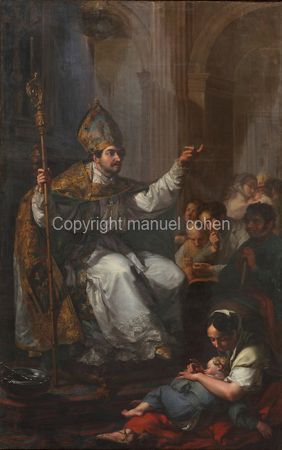 St Ruf of Avignon, first Bishop of Tortosa 64-90 AD, painting by Vicente Lopez, 1772-1850, from the Altarpiece of St Ruf of Avignon, in the Chapel of St Ruf or Capella na Justa, in the Cathedral of St Mary, designed by Benito Dalguayre in Catalan Gothic style and begun 1347 on the site of a Romanesque cathedral, consecrated 1447 and completed in 1757, Tortosa, Catalonia, Spain. The cathedral has 3 naves with chapels between the buttresses and an ambulatory with radial chapels. Picture by Manuel Cohen
