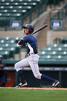 GCL Rays outfielder Jaime Ayende (1) at bat during the second game of a doubleheader against the GCL Orioles on August 1, 2015 at the Ed Smith Stadium in Sarasota, Florida.  GCL Orioles defeated the GCL Rays 11-4.  (Mike Janes/Four Seam Images)