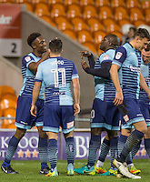Anthony Stewart of Wycombe Wanderers celebrates his goal with Adebayo Akinfenwa of Wycombe Wanderers during the The Checkatrade Trophy match between Blackpool and Wycombe Wanderers at Bloomfield Road, Blackpool, England on 10 January 2017. Photo by Andy Rowland / PRiME Media Images.
