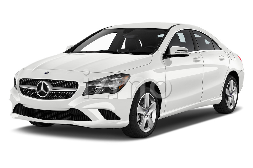 2016 Mercedes Benz CLA Class CLA250 4 Door Sedan Angular Front stock photos of front three quarter view