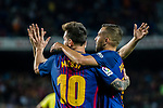 Lionel Andres Messi (L) of FC Barcelona celebrates his hat trick with Jordi Alba Ramos (R) of FC Barcelona during the La Liga match between FC Barcelona vs RCD Espanyol at the Camp Nou on 09 September 2017 in Barcelona, Spain. Photo by Vicens Gimenez / Power Sport Images