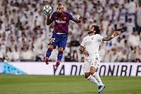 1st March 2020; Estadio Santiago Bernabeu, Madrid, Spain; La Liga Football, Real Madrid versus Club de Futbol Barcelona; Arturo Vidal (FC Barcelona)  wins the header from Marcelo Viera (Real Madrid)