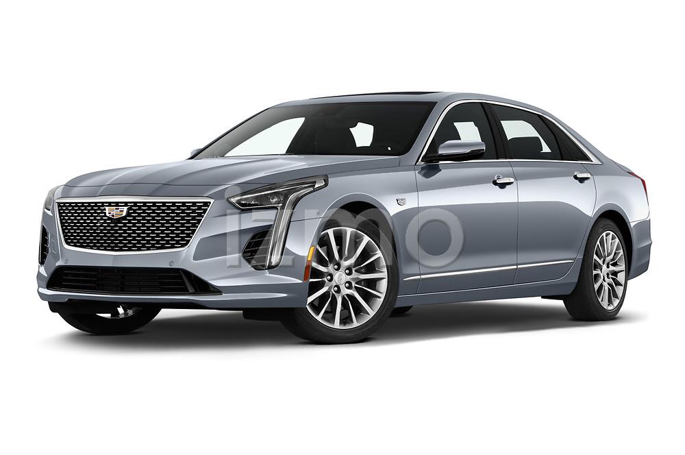 Stock pictures of low aggressive front three quarter view of 2019 Cadillac CT6 Premium-Luxury 4 Door Sedan Low Aggressive