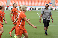 Houston, TX - Saturday June 17, 2017: Houston Dash Interim Head Coach, Omar Morales during warm ups during a regular season National Women's Soccer League (NWSL) match between the Houston Dash and the Orlando Pride at BBVA Compass Stadium.