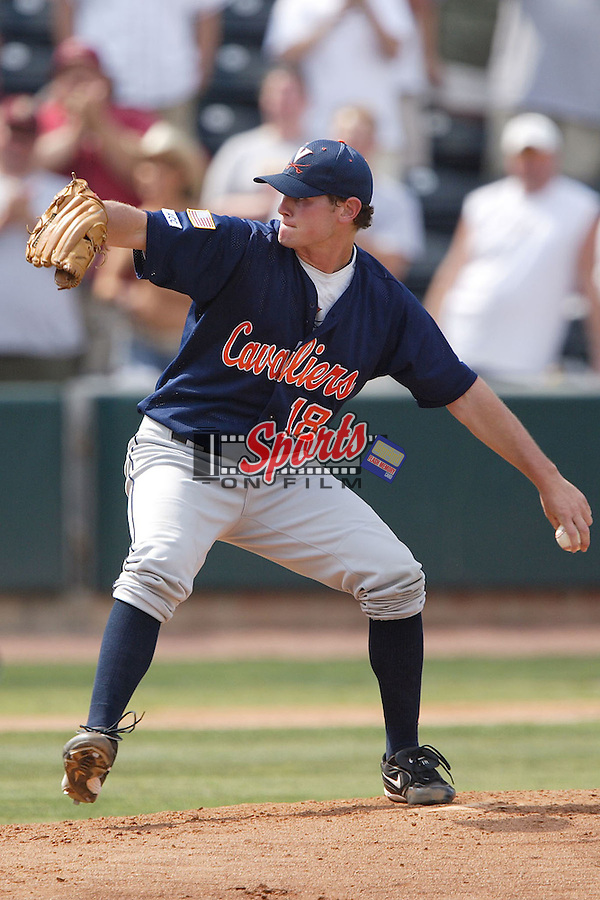 Virginia's Mike Ballard (18) winds up to deliver a pitch versus Florida State at the 2006 ACC Baseball Championship at the Baseball Grounds of Jacksonville in Jacksonville, FL, Friday, May 26, 2006.  Florida State defeated Virginia 11-0 in 7 innings.