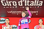 Elia Viviani (ITA) Quick-Step Floors retains the Maglia Ciclamino at the end of Stage 18 of the 2018 Giro d'Italia, running 196km from Abbiategrasso to Prato Nevoso, Italy. 24th May 2018.<br /> Picture: LaPresse/Massimo Paolone | Cyclefile<br /> <br /> <br /> All photos usage must carry mandatory copyright credit (&copy; Cyclefile | LaPresse/Massimo Paolone)