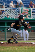 West Virginia Black Bears center fielder Travis Swaggerty (13) follows through on a swing during a game against the Batavia Muckdogs on July 2, 2018 at Dwyer Stadium in Batavia, New York.  West Virginia defeated Batavia 3-1.  (Mike Janes/Four Seam Images)