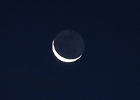 BOGOTA -COLOMBIA , 23- MAY-2017.The moon in a crescent photographed this morning. Photo: VizzorImage / Felipe Caicedo / Staff