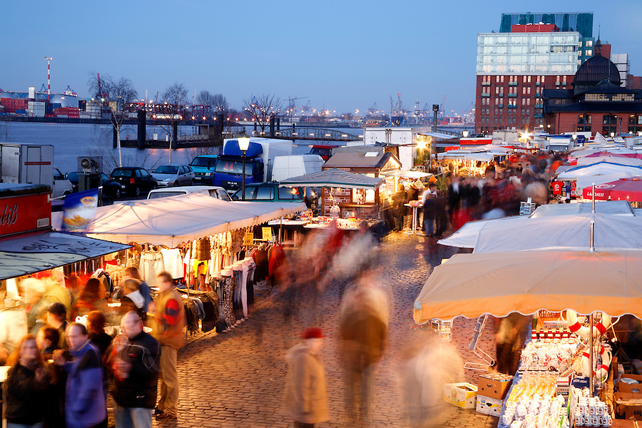 Sunday morning Fischmarkt (circ 1703) on Hamburg's Elbe River waterfront, Germany