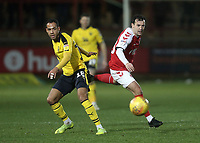 Fleetwood Town's Ross Wallace vies for possession with   Oxford United's Jordan Graham<br /> <br /> Photographer Rich Linley/CameraSport<br /> <br /> The EFL Sky Bet League One - Fleetwood Town v Oxford United - Saturday 12th January 2019 - Highbury Stadium - Fleetwood<br /> <br /> World Copyright &copy; 2019 CameraSport. All rights reserved. 43 Linden Ave. Countesthorpe. Leicester. England. LE8 5PG - Tel: +44 (0) 116 277 4147 - admin@camerasport.com - www.camerasport.com