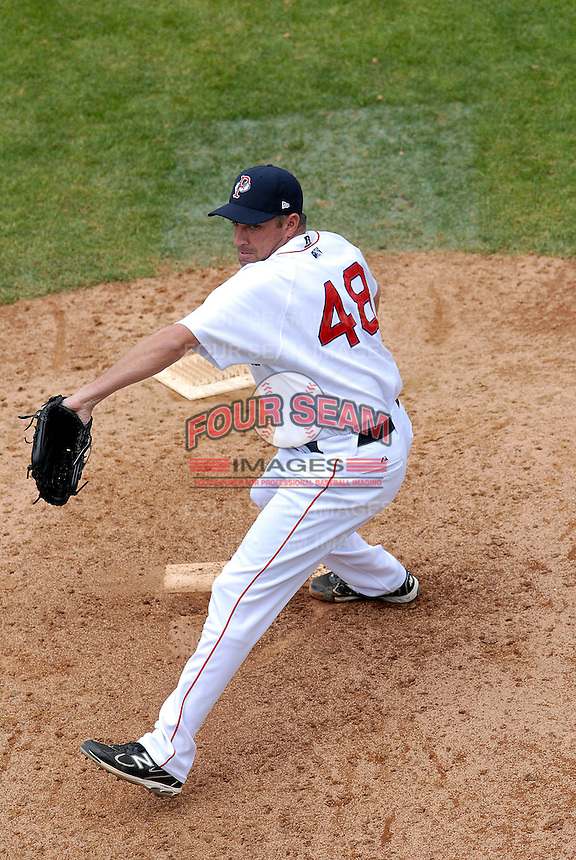 Pitcher Scott Atchison #48 of the Pawtucket Red Sox during a game versus the Gwinnett Braves on May 12, 2011 at McCoy Stadium in Pawtucket, Rhode Island. Photo by Ken Babbitt /Four Seam Images