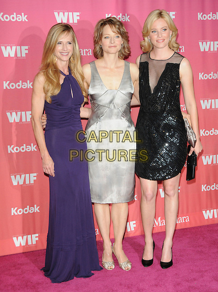HOLLY HUNTER, JODIE FOSTER & ELIZABETH BANKS .at The Women in Film 2009 Crystal .and Lucy Awards held at The Hyatt Regency Century Plaza in Century City, California, USA, June 12th 2009                                                                     .full length grey gray silver dress purple  black beaded sequined long maxi gold shoes   .CAP/DVS.©Debbie VanStory/RockinExposures/Capital Pictures