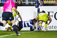 Jack Wilson of Bath Rugby scores a try in the first half. Anglo-Welsh Cup match, between Bath Rugby and Leicester Tigers on November 4, 2016 at the Recreation Ground in Bath, England. Photo by: Patrick Khachfe / Onside Images
