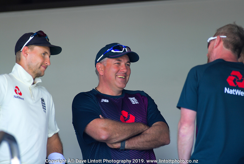 England captain Joe Root (left) and coach Chris Silverwood before day one of the international cricket 1st test match between NZ Black Caps and England at Bay Oval in Mount Maunganui, New Zealand on Thursday, 21 November 2019. Photo: Dave Lintott / lintottphoto.co.nz