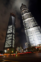 A view of the nearly completed World Financial Center (L) and the Jin Mao Tower (R) in Shanghai, China..24 Aug 2007