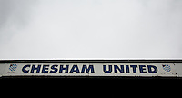 General view during the FA Cup 4th Round Qualifying match between Step 7 clubs Chesham United (The Southern League Premier Division) and Enfield Town (Premier Division of the Isthmian League) at the Meadow , Chesham, England on 24 October 2015. Photo by Andy Rowland.