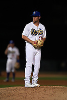 Rancho Cucamonga Quakes relief pitcher Logan Salow (49) prepares to deliver a pitch during a California League game against the Lake Elsinore Storm at LoanMart Field on May 19, 2018 in Rancho Cucamonga, California. Lake Elsinore defeated Rancho Cucamonga 10-7. (Zachary Lucy/Four Seam Images)