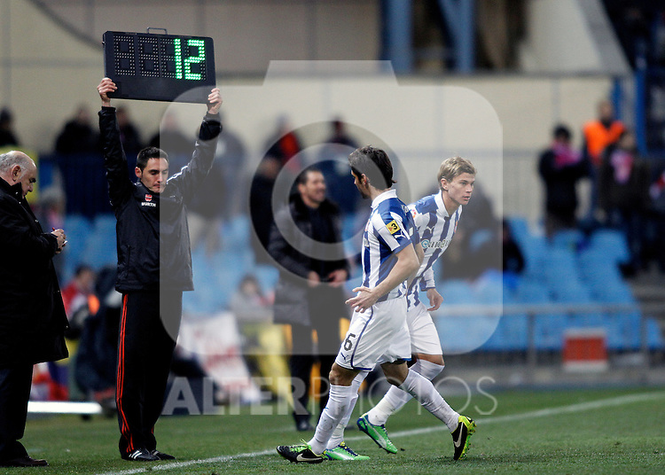 Espanyol's Forlin and Longo during La Liga  match. February 24,2013.(ALTERPHOTOS/Alconada)