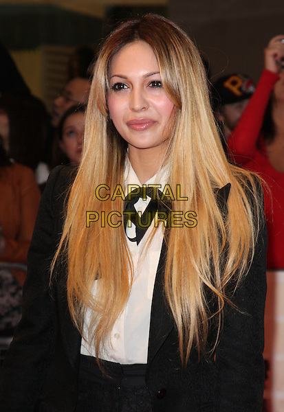 "ZARA MARTIN.""One Day"" UK premiere, Vue Westfield cinema, Westfield Shopping Centre, London, England..August 23rd, 2011.half length black white  blazer jacket  blouse beads beaded .CAP/ROS.©Steve Ross/Capital Pictures"