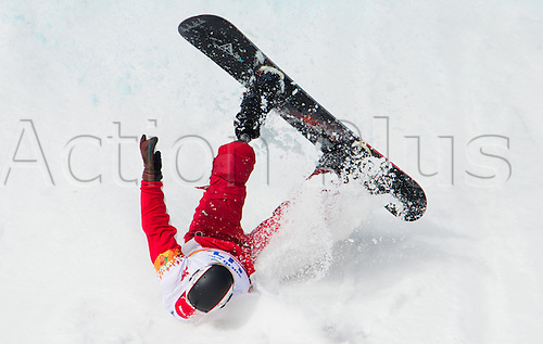 14.03.2014. Sochi, Russia.  Alexander Ilinov of Russia crashes during the Men's Para-Snowboard in Rosa Khutor Alpine Center at the Sochi 2014 Paralympic Winter Games, Krasnaya Polyana, Russia, 14 March 2014.