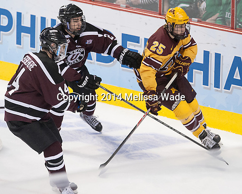 Shayne Gostisbehere (Union - 14), Jeff Taylor (Union - 2), Justin Kloos (MN - 25) - The Union College Dutchmen defeated the University of Minnesota Golden Gophers 7-4 to win the 2014 NCAA D1 men's national championship on Saturday, April 12, 2014, at the Wells Fargo Center in Philadelphia, Pennsylvania.