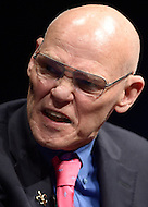 Washington, DC - February 11, 2015: Political strategist James Carville participates in a panel discussion on the history and importance of the New Hampshire primary held at the Newseum in the District of Columbia February 11, 2015.  (Photo by Don Baxter/Media Images International)