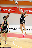 27.10.2013 Silver Fern Casey Kopua in action during the Silver Ferns V Malawi New World Netball Series played at the Pettigrew Green Arena in Napier. Mandatory Photo Credit ©Michael Bradley.