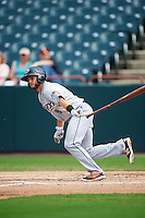 Akron RubberDucks second baseman Todd Hankins (8) at bat during the second game of a doubleheader against the Bowie Baysox on June 5, 2016 at Prince George's Stadium in Bowie, Maryland.  Bowie defeated Akron 12-7.  (Mike Janes/Four Seam Images)