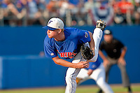 June 12, 2010:    Florida Pitcher Hudson Randall pitches during the first inning of game two of NCAA Gainesville Super Regional action between the University of Florida Gators and Miami Hurricanes at Alfred A. McKethan Stadium on the campus of University of Florida in Gainesville.   Florida defeated Miami in 10 innings 4-3 to advance to the College World Series in Omaha, Nebraska...........