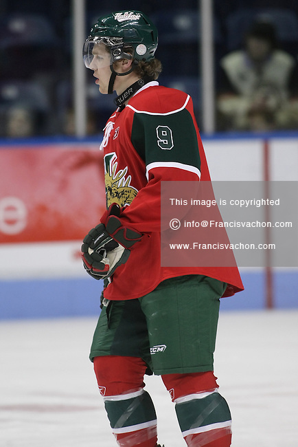 QMJHL (LHJMQ) hockey player profile photo on Halifax Mooseheads Linden Bahm October 15, 2009 at the Colisee Pepsi in Quebec city.