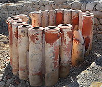 Water filtering system. ruins of Neapolis, ancient Greek (and then Roman) city of Empuries, Sant Marti d´Empuries, Girona, Spain. The amphorae were filled with sand and gravel, and water poured in the tops came out at the bottoms clean. Picture by Manuel Cohen