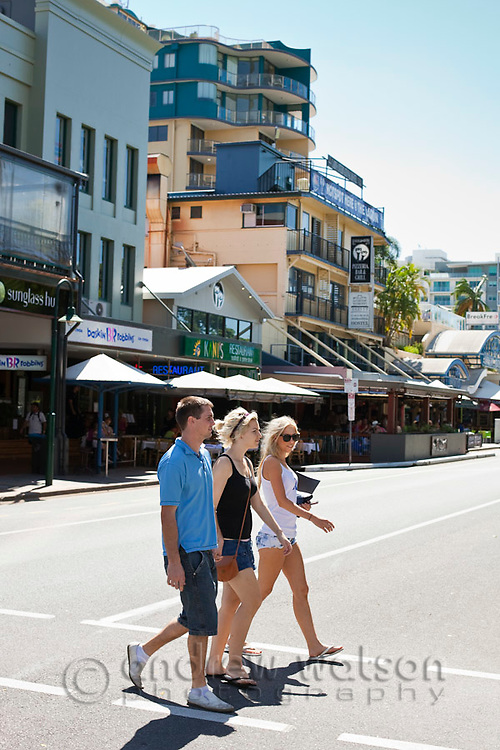 The accommodation and restaurant district of the Esplanade.  Cairns, Queensland, Australia