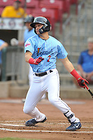 Cedar Rapids Kernels third baseman Andrew Bechtold (7)  swings at pitch against the South Bend Cubs at Veterans Memorial Stadium on May 1, 2018 in Cedar Rapids, Iowa.  (Dennis Hubbard/Four Seam Images)