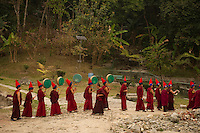 Buddhist Lama Monk in a procession during Losar, Sikkim, India