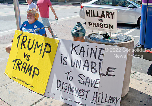 Bob Kunst, 74 of Miami Beach, Florida, an international pioneer of Gay Rights and President of Shalom International, set-up his protest outside the Pennsylvania Convention Center prior to the 2016 Democratic National Convention to be held at the Wells Fargo Center in Philadelphia, Pennsylvania on Sunday, July 24, 2016.  Kunst was also in Cleveland protesting prior to the Republican Convention in Cleveland, Ohio.<br /> Credit: Ron Sachs / CNP<br /> (RESTRICTION: NO New York or New Jersey Newspapers or newspapers within a 75 mile radius of New York City)