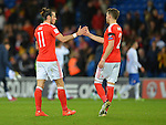 Gareth Bale of Wales shakes hands with team mate Chris Gunter of Wales at the end of the FIFA World Cup Qualifying match at the Cardiff City Stadium, Cardiff. Picture date: November 12th, 2016. Pic Robin Parker/Sportimage