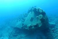shipwreck USS Macaw, ASR-11, sub tender, sunk in 1944, Midway atoll, Papahanaumokuakea Marine National Monument, Northwestern Hawaiian Islands, Hawaii, USA, Pacific Ocean