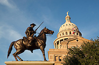 Texas Ranger statue stands in front of Texas State Capitol, Austin, Texas.