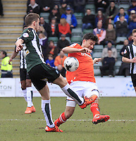 Jonathan Smith of Luton Town blocks a clearance during the Sky Bet League 2 match between Plymouth Argyle and Luton Town at Home Park, Plymouth, England on 19 March 2016. Photo by Liam Smith.