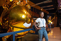 Half scale model of the Cassini orbiter at JPL.<br /> Occidental College student Tre'Shunda James '19 is a Jet Propulsion Laboratory Research Intern at NASA's JPL in Pasadena. Tre'Shunda is working with Dr. Renyu Hu studying oxygen in terrestrial exoplanet atmospheres and is also working on a project for the Undergraduate Research Center's Summer Research Program.<br /> Photo taken July 12, 2018.<br /> (Photo by Marc Campos, Occidental College Photographer)