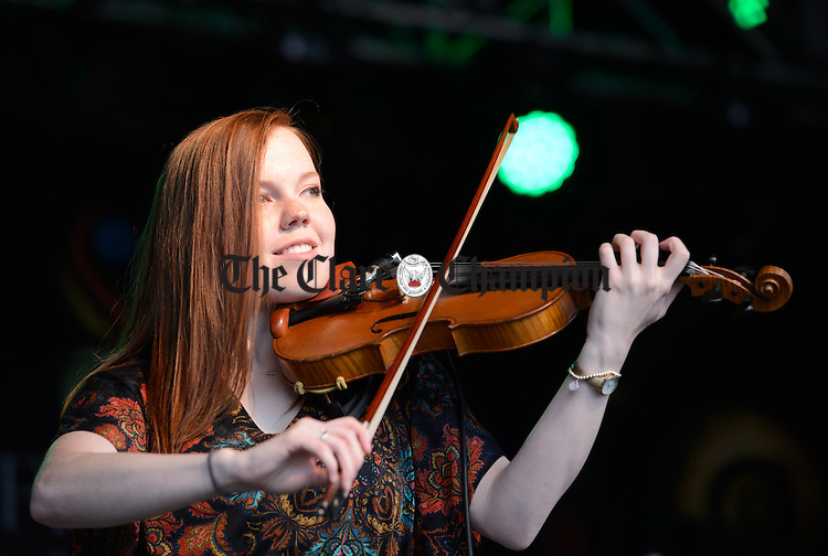 Rosemary Lawton of the Celtic Fiddlers Canada performing in Abbey Street car park during Fleadh Cheoil na hEireann in Ennis. Photograph by John Kelly.