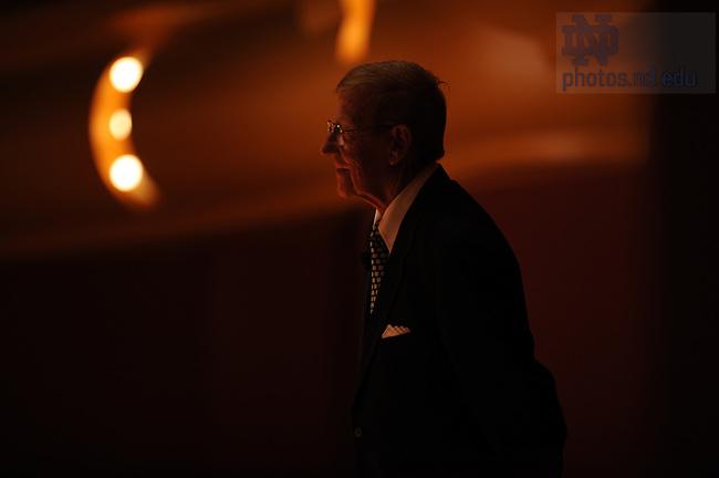 John Affleck-Graves introduces Lou Holtz for a talk at the Leighton Concert Hall.