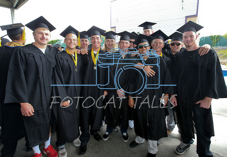 A group of Wildcats' baseball players pose before the Western Nevada College commencement at the Pony Express Pavilion, in Carson City, Nev., on Monday, May 19, 2014. <br /> Photo by Cathleen Allison/Nevada Photo Source