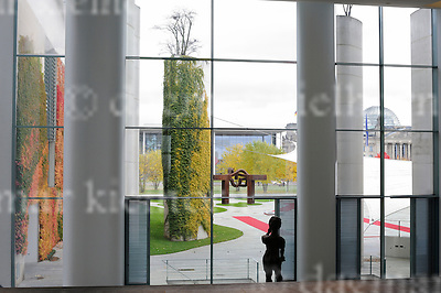 November 02-16,Chancellery,Berlin,Germany<br /> View at the &quot;Ehrenhof&quot; ,colorful autumn .<br /> German Chancellor Angela Merkel welcomes  President Johann Schneider-Ammann of Switzerland with military honour.