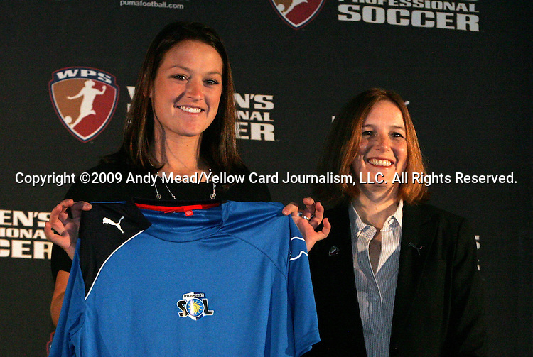 16 January 2009: Brittany Bock, with WPS Commissioner Tonya Antonucci, was taken by the Los Angeles Sol with the fifth overall pick. The 2009 inaugural Womens Pro Soccer (WPS) Draft was held at the Convention Center in St. Louis, Missouri in conjuction with the National Soccer Coaches Association of America's annual convention.