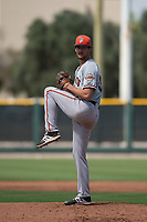 San Francisco Giants relief pitcher (34) prepares to deliver a pitch to the plate during a Minor League Spring Training game against the Cleveland Indians at the San Francisco Giants Training Complex on March 14, 2018 in Scottsdale, Arizona. (Zachary Lucy/Four Seam Images)