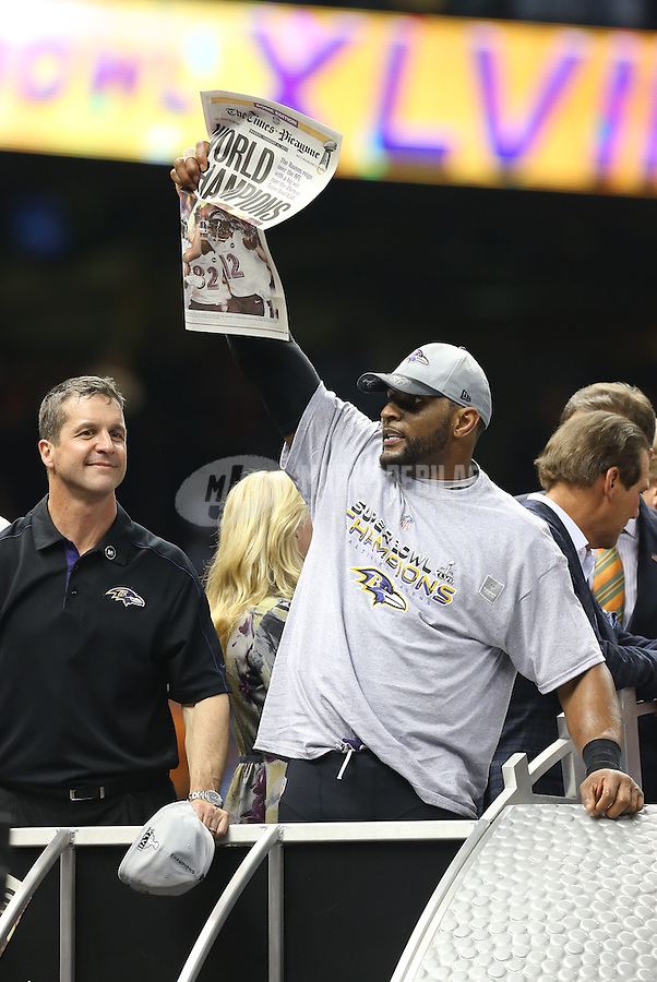 Feb 3, 2013; New Orleans, LA, USA; Baltimore Ravens inside linebacker Ray Lewis (right) and head coach John Harbaugh celebrate after defeating the San Francisco 49ers in Super Bowl XLVII at the Mercedes-Benz Superdome. Mandatory Credit: Mark J. Rebilas-