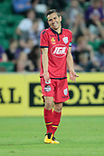 November 4th 2017, nib Stadium, Perth, Australia; A-League football, Perth Glory versus Adelaide United; Isaias captain of Adelaide United complains about being jumped on by Mitch Nichols of the Perth Glory