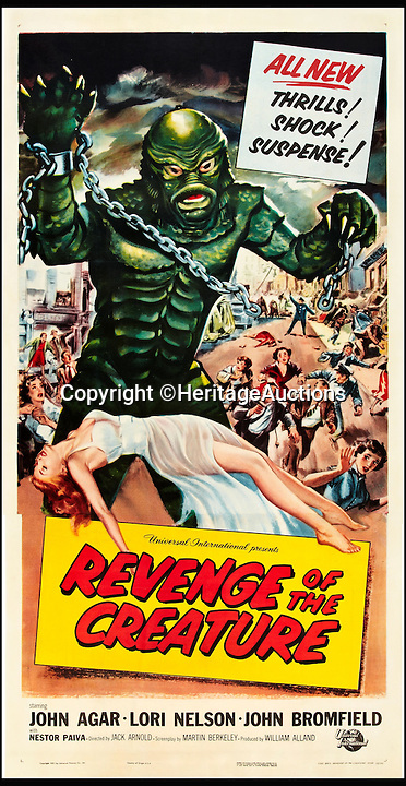 BNPS.co.uk (01202 558833)<br /> Pic: HeritageAuctions/BNPS<br /> <br /> Revenge of the Creature film poster.<br /> <br /> A life-size film prop of the famous 1950s monster the Creature from the Black Lagoon that guarded its owner's office for decades is expected to fetch £24,000 at auction.<br /> <br /> The instantly-recognizable swamp beast frightened moviegoers in the 1950s, when the horror B movie was at its height.<br /> <br /> This Gill-man figure was made for the 1955 horror film Revenge of the Creature, the sequel to the 1954 cult classic Creature From the Black Lagoon.<br /> <br /> The unusual memorabilia was owned for about 40 years by Earl Jernigan, who worked as a grip - lighting and rigging technician - on the film when it was shot in North Central Florida and kept the monster after production finished.<br /> <br /> The prop will be sold by Heritage Auctions in Dallas, Texas on February 20.